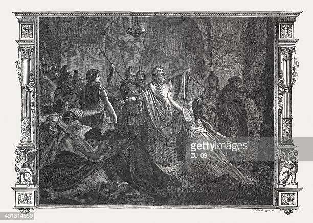 persecution of christians in ancient rome, wood engraving,published 1878 - christianity stock illustrations