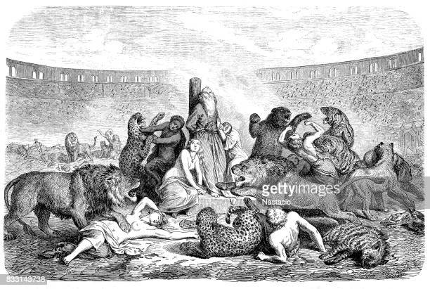 persecution of christians, victims of predators in the circus of rome - christianity stock illustrations
