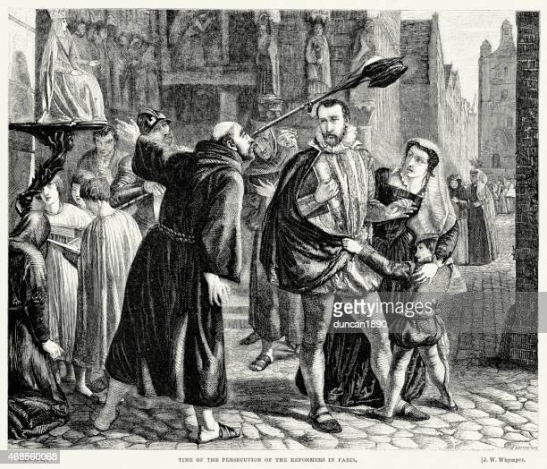 persecution of the huguenots in paris - protestantism stock illustrations