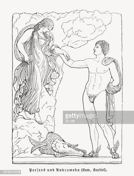 perseus and andromeda, greek mythology, wood engraving, published in 1897 - bas relief stock illustrations