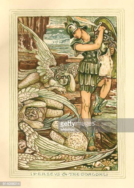 perseus and the gorgons - greek mythology - greek mythology stock illustrations