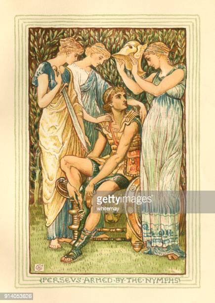 perseus armed by the nymphs - greek mythology - greek mythology stock illustrations, clip art, cartoons, & icons