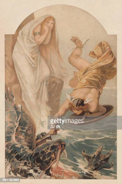 perseus freeing andromeda, greek mythology, lithograph, published in 1897 - art nouveau stock illustrations, clip art, cartoons, & icons