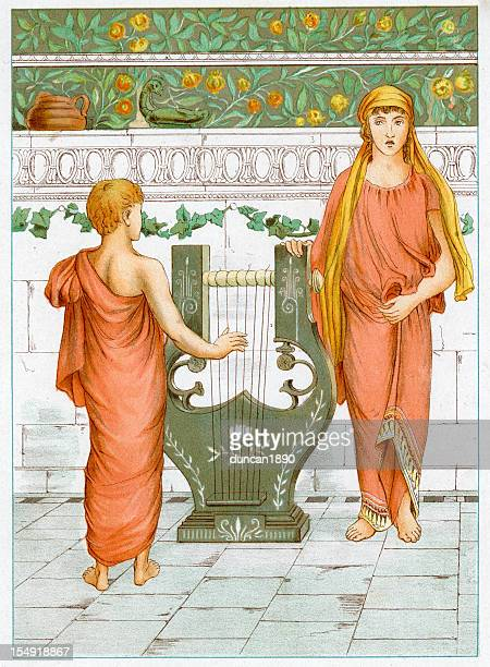 perseus learing to play the lyre - ancient greece stock illustrations
