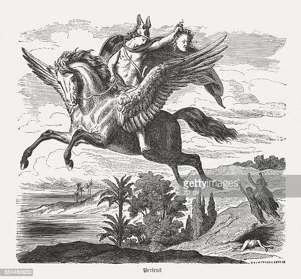 perseus on pegasus, greek mythology, wood engraving, published in 1880 - pegasus stock illustrations, clip art, cartoons, & icons