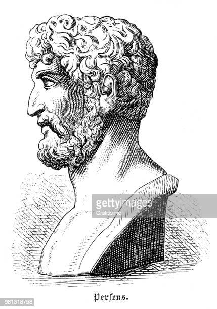 perseus the legendary founder of mycenae illustration 1880 - mycenae stock illustrations