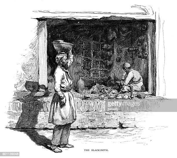 persian blacksmith - iranian culture stock illustrations, clip art, cartoons, & icons