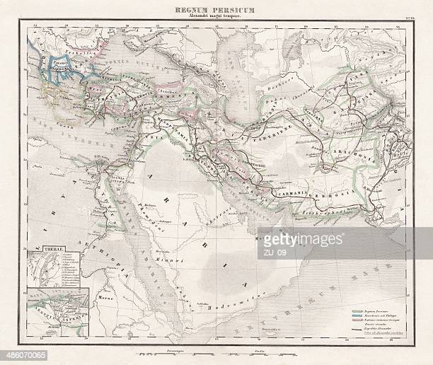 persian empire (c.400 bc), steel engraving, pubolished in 1861 - empire stock illustrations