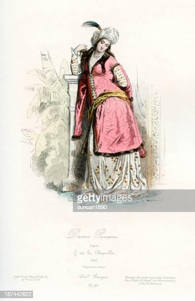 illustrazioni stock, clip art, cartoni animati e icone di tendenza di persiano lady - xvii° secolo