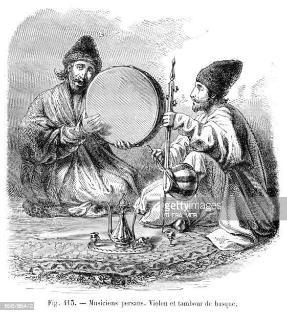 Persian musicians engraving 1881