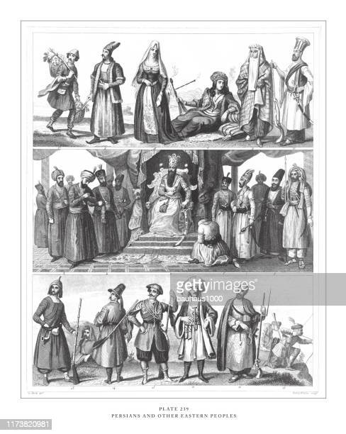perser und andere östliche völker gravur antike illustration, veröffentlicht 1851 - kurdischer abstammung stock-grafiken, -clipart, -cartoons und -symbole