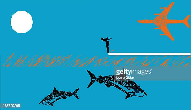 a person about to dive into shark infested water - infestation stock illustrations, clip art, cartoons, & icons