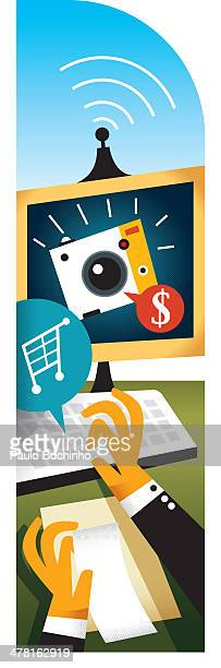 A person buying a camera online