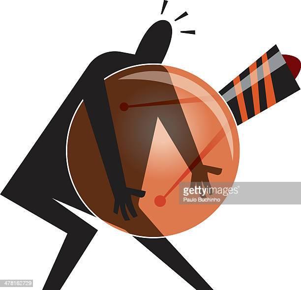ilustrações de stock, clip art, desenhos animados e ícones de a person carrying a big light bulb - buchinho
