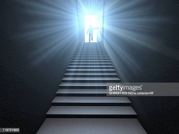 A person climbing the stairs and open door, digitally generated image