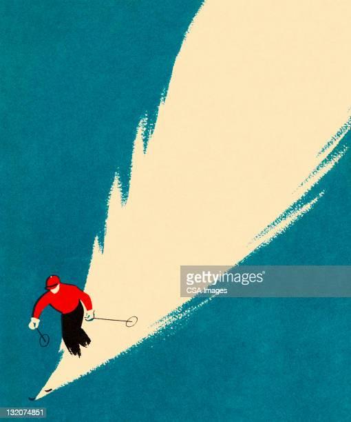 illustrations, cliparts, dessins animés et icônes de personne ski alpin - ski alpin