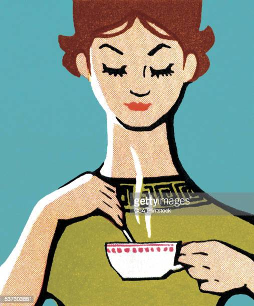 person drinking hot beverage - relaxation stock illustrations, clip art, cartoons, & icons