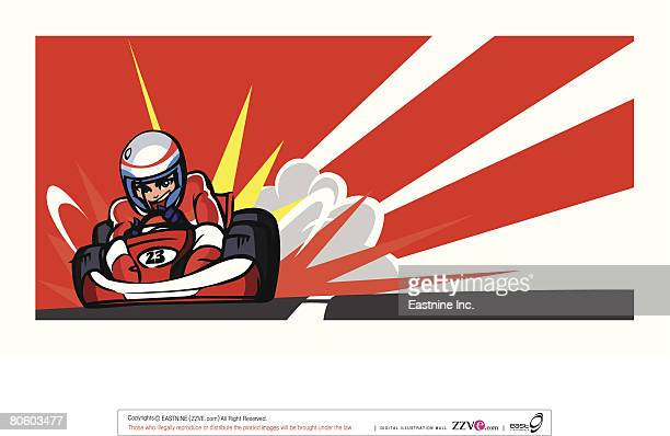 person driving a go-cart on a motor racing track - go carting stock illustrations, clip art, cartoons, & icons
