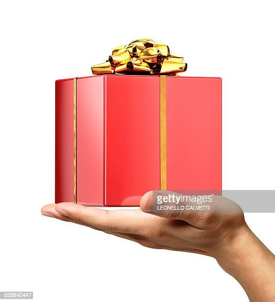person holding a red gift wrapped box - receiving stock illustrations
