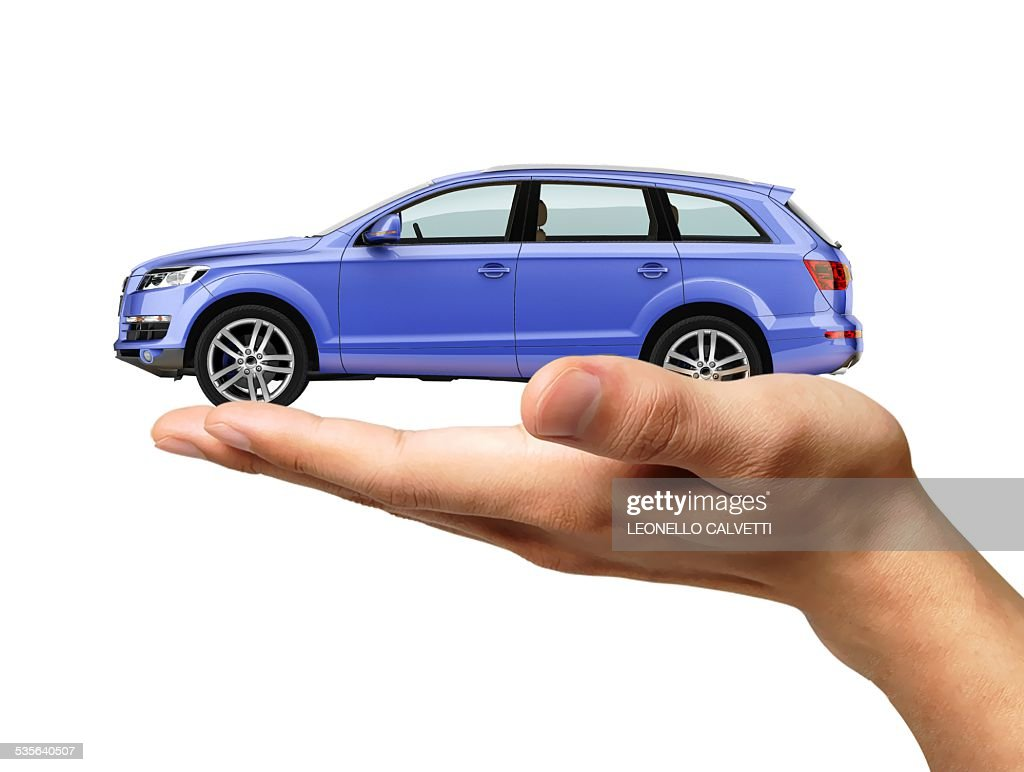 Person holding car, artwork : stock illustration