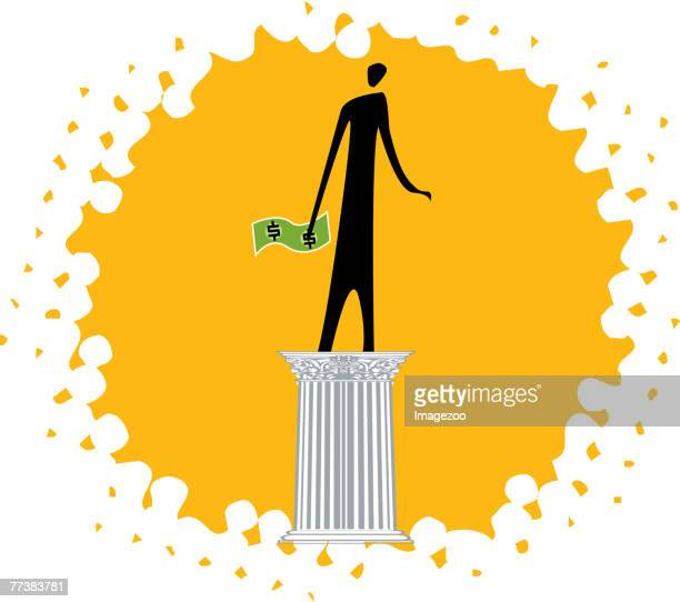 person holding money while standing on a pedestal