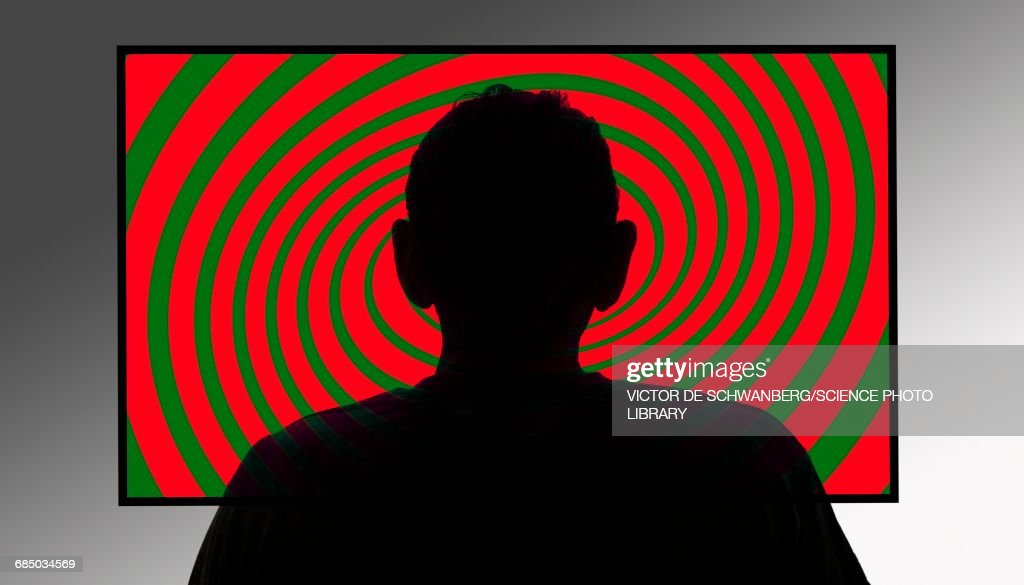 Person in front of swirly tv screen : stock illustration