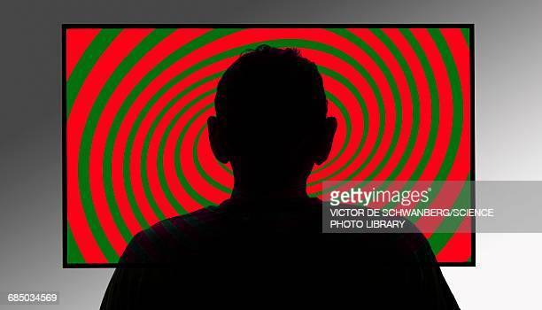 person in front of swirly tv screen - obsessive stock illustrations, clip art, cartoons, & icons