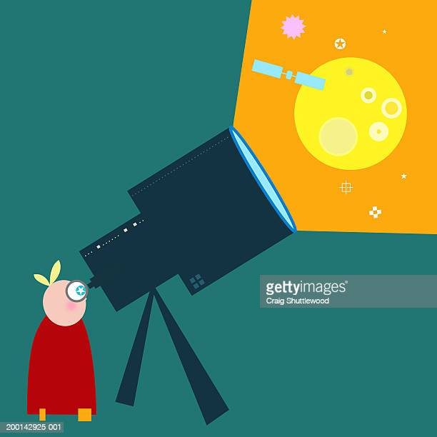 Person looking into space through telescope