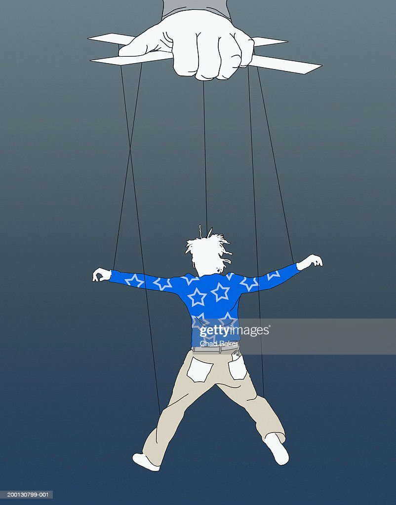 Person  manipulating marionette : stock illustration