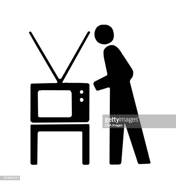 person next to television - next stock illustrations