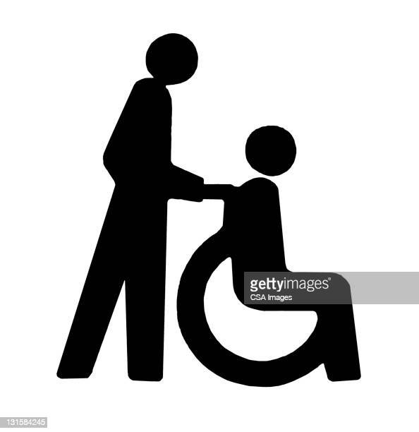 person pushing someone in wheelchair - design element stock illustrations