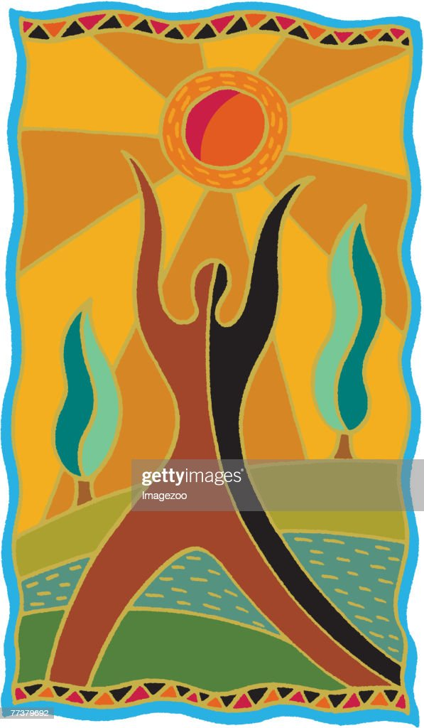 Person reaching towards the sun : Stock-Illustration
