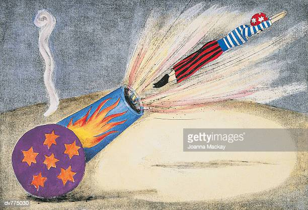 person shooting from a cannon - shooting a weapon stock illustrations, clip art, cartoons, & icons