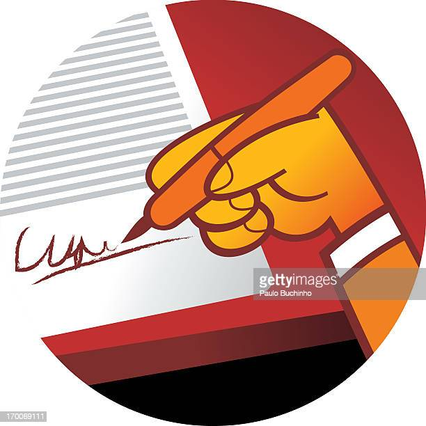ilustrações de stock, clip art, desenhos animados e ícones de a person signing a document - buchinho