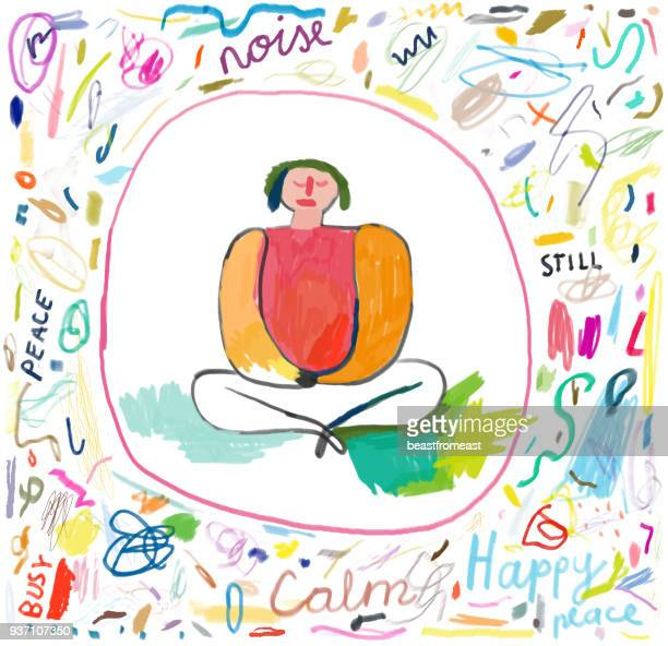 person sitting in lotus position and meditating - drawing artistic product stock illustrations, clip art, cartoons, & icons