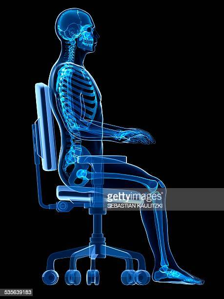 person sitting with incorrect posture - 人間工学点のイラスト素材/クリップアート素材/マンガ素材/アイコン素材