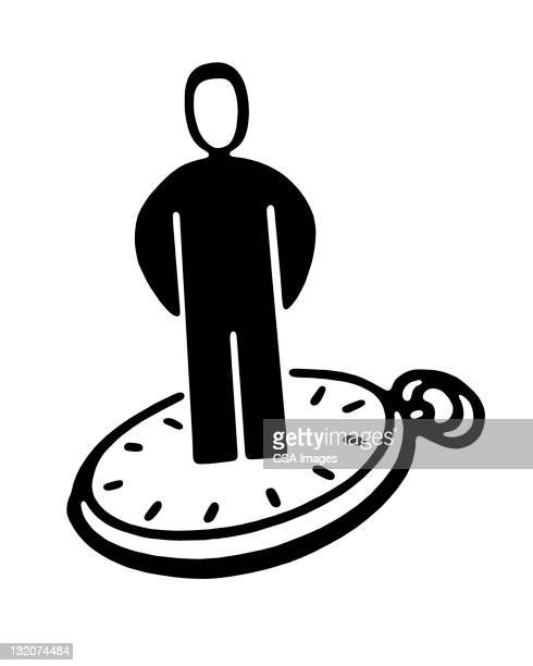 person standing on watch - deadline stock illustrations