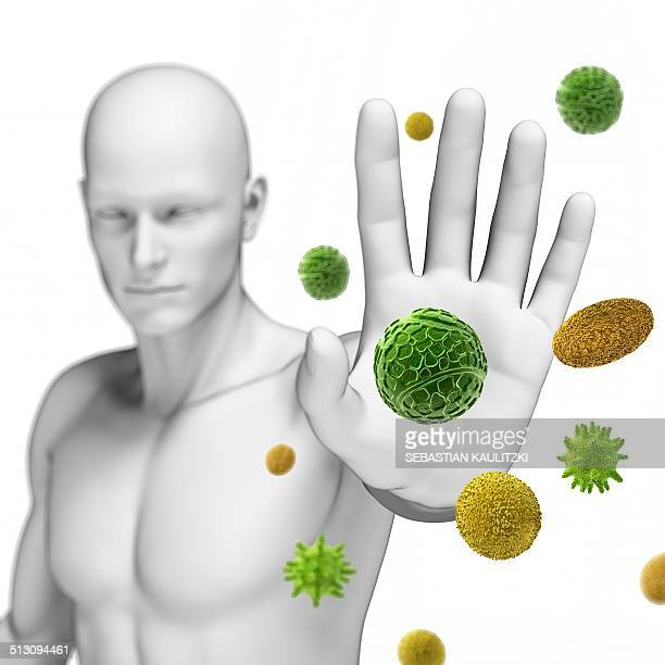 Person stopping pollen, artwork