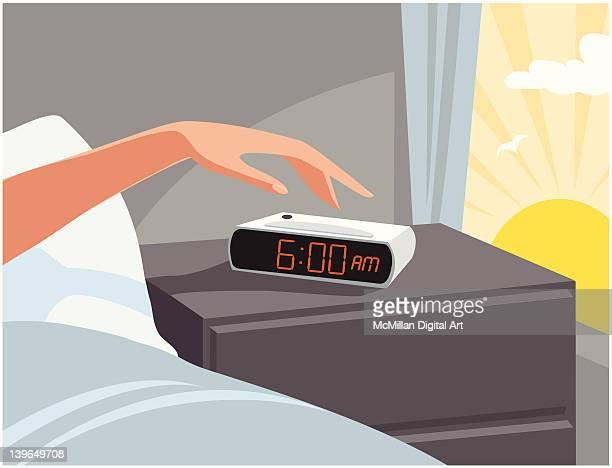 ilustrações de stock, clip art, desenhos animados e ícones de person turning off alarm clock - acordar