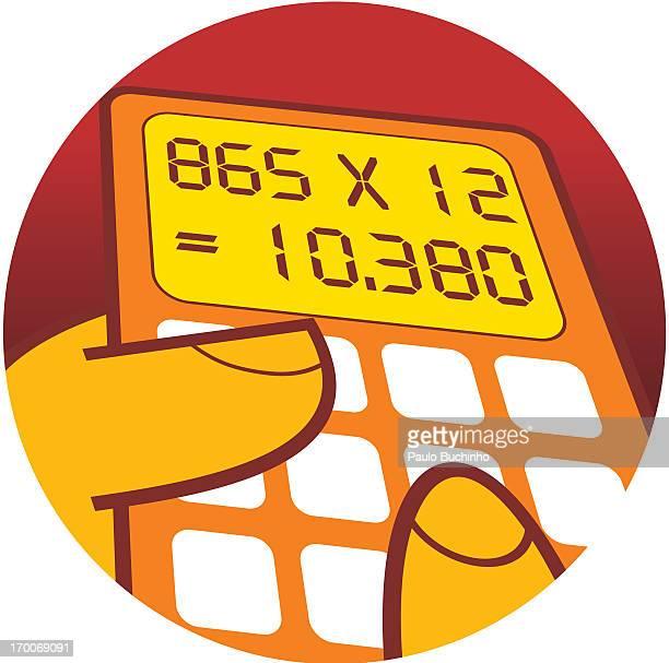 ilustrações de stock, clip art, desenhos animados e ícones de a person using a calculator - buchinho