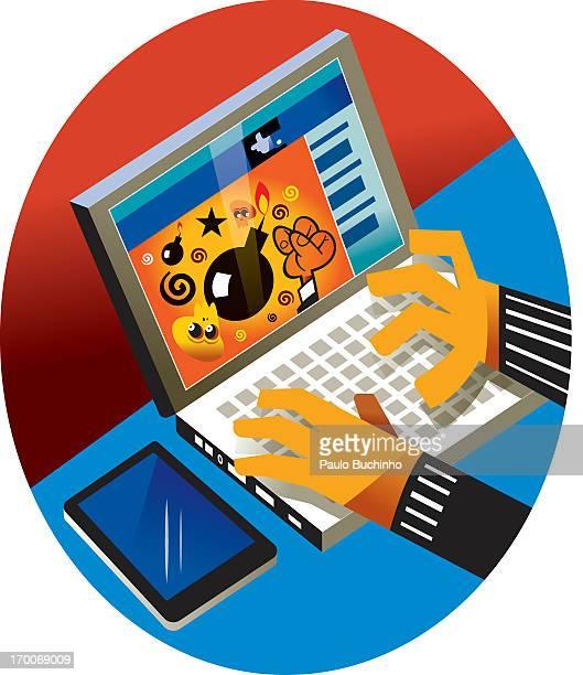 ilustrações de stock, clip art, desenhos animados e ícones de a person using a computer with a virus on it - buchinho