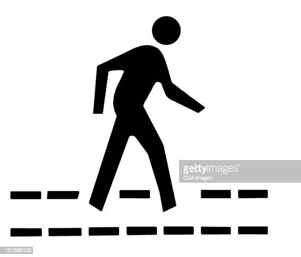 person walking - road marking stock illustrations