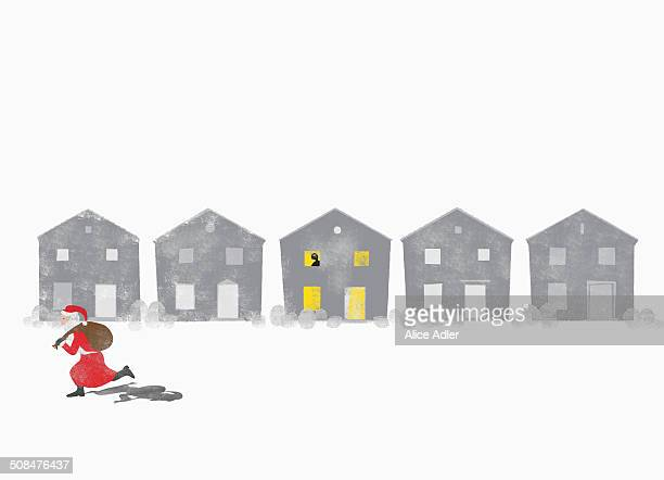 a person watches from a window as santa claus runs by - anticipation stock illustrations
