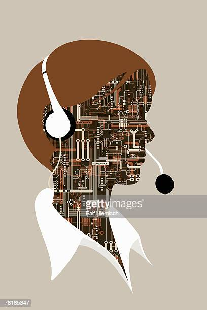a person wearing a telephone headset - robot stock illustrations