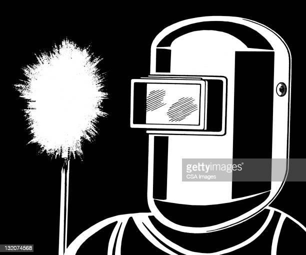ilustraciones, imágenes clip art, dibujos animados e iconos de stock de persona usando máscara de soldador - soldar