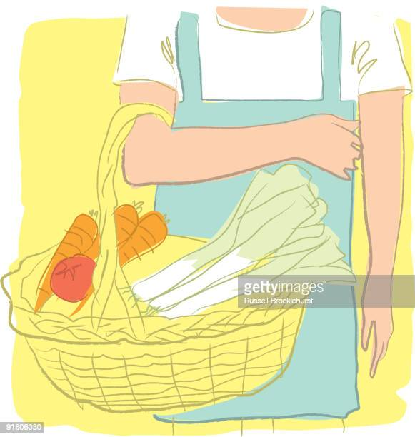 a person with a basket full of vegetables - leek stock illustrations, clip art, cartoons, & icons