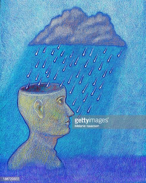 A person with a rain cloud over him