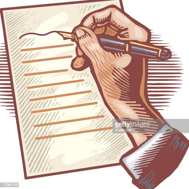 a person writing a letter with a pen - legal document stock illustrations, clip art, cartoons, & icons
