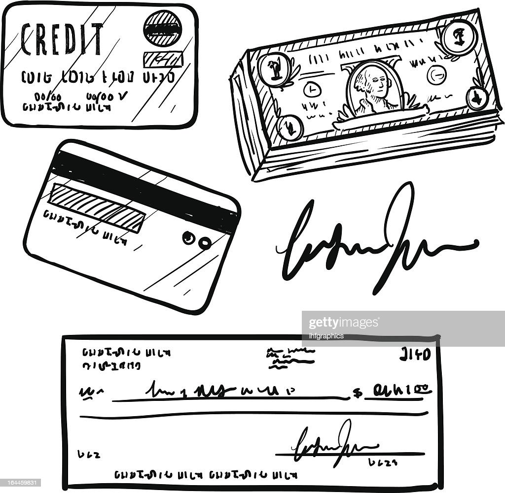 Personal finance objects vector sketch