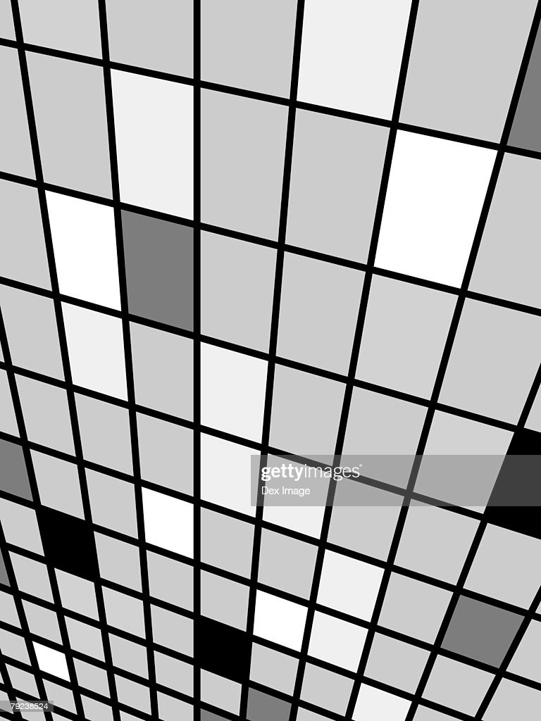 Perspective view of black, gray and white grid pattern : Stock Illustration
